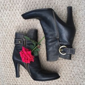 Coach Black Leather Ankle Boots.
